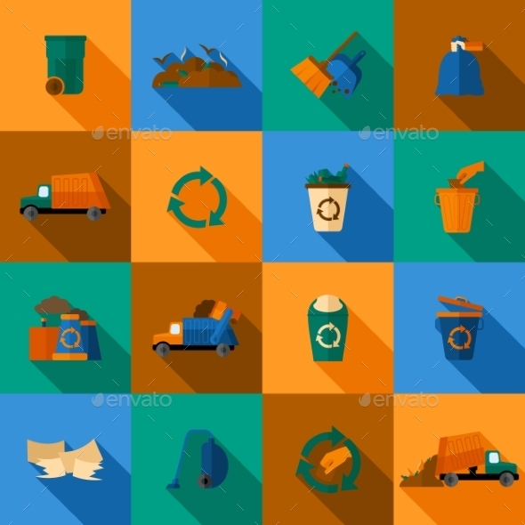 GraphicRiver Garbage Icons Set 10311264