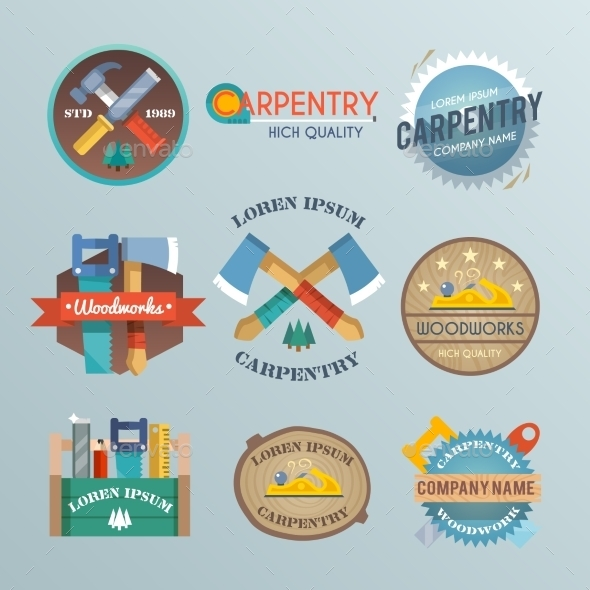 GraphicRiver Carpentry Label Set 10311269