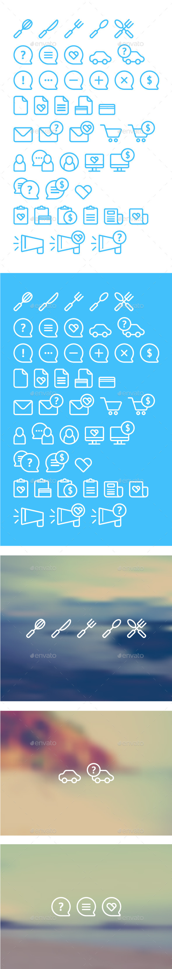 GraphicRiver Cleanse Icons Set on Blurred Background 10311355