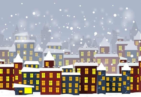 GraphicRiver Cartoon Winter City 10311427