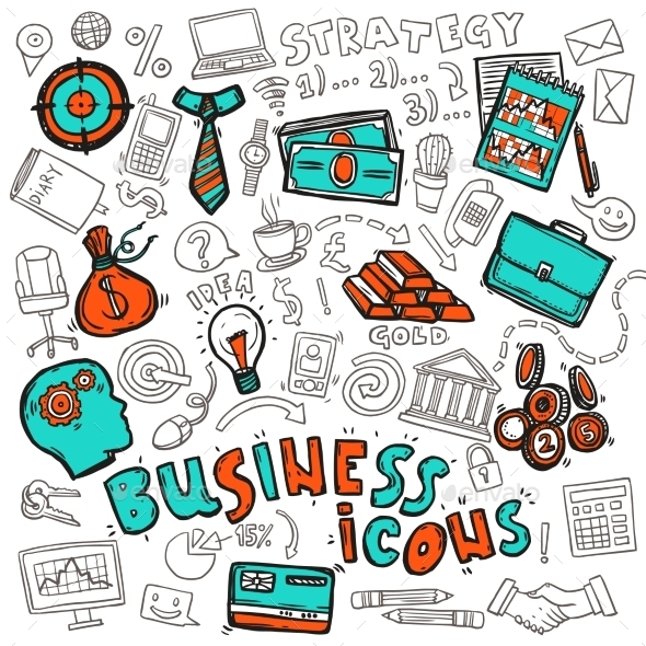 GraphicRiver Business Icons Doodle Sketch 10311580