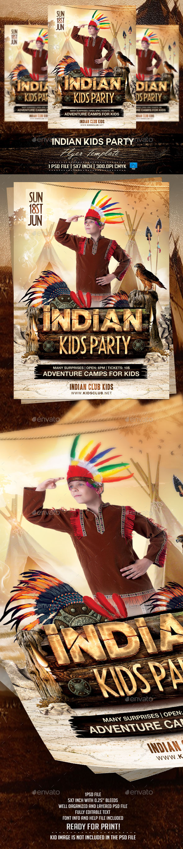 GraphicRiver Indian Kids Party Flyer Template 10311766