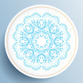 White plate with blue floral ornament - PhotoDune Item for Sale