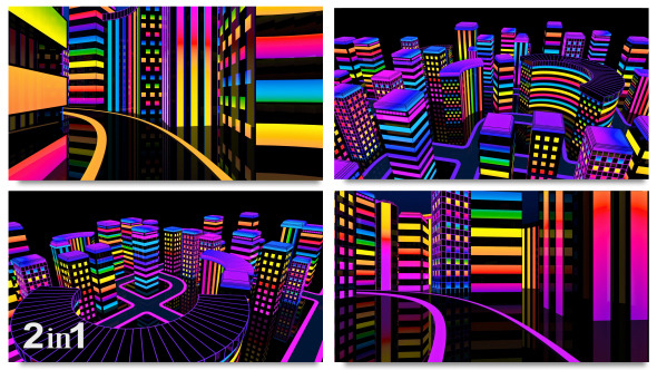 City Colorful Neon Glow 2-Pack