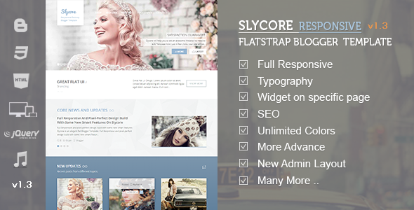 Slycore Responsive Flatstrap Blogger Template Download