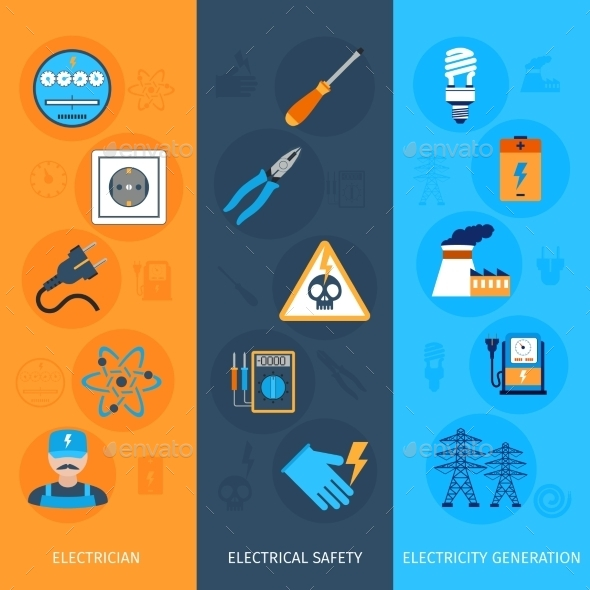 GraphicRiver Electricity Banners Set 10313482