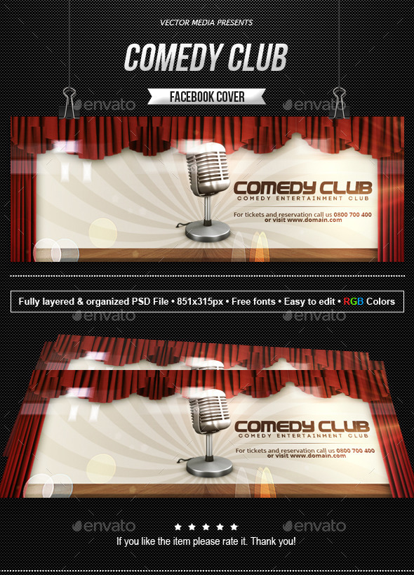 GraphicRiver Comedy Club Facebook Cover 10313707