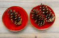 three pine cones on a red ceramic bowl - PhotoDune Item for Sale