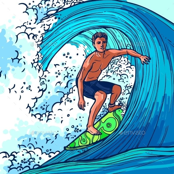 GraphicRiver Surfer Man Background 10314298