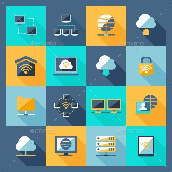 GraphicRiver Network Icons Flat 10314311