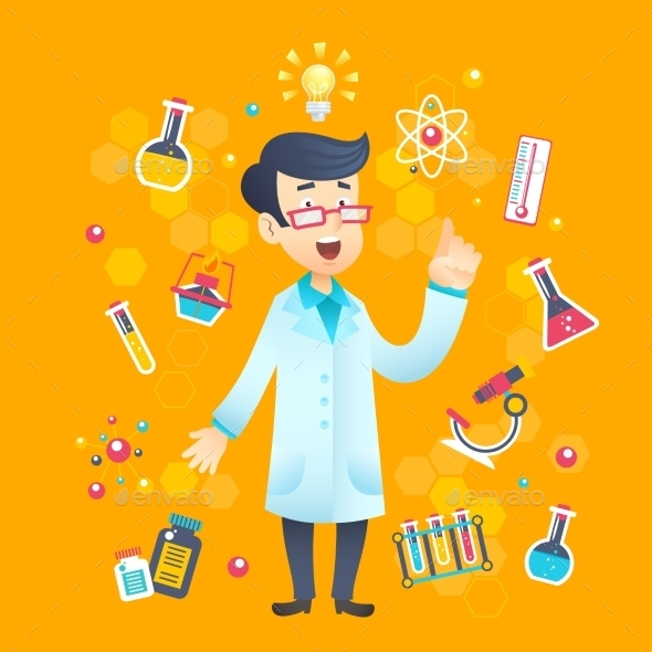 GraphicRiver Chemist Scientist Character 10314337