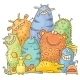 Group of Cartoon Colorful Monsters - GraphicRiver Item for Sale