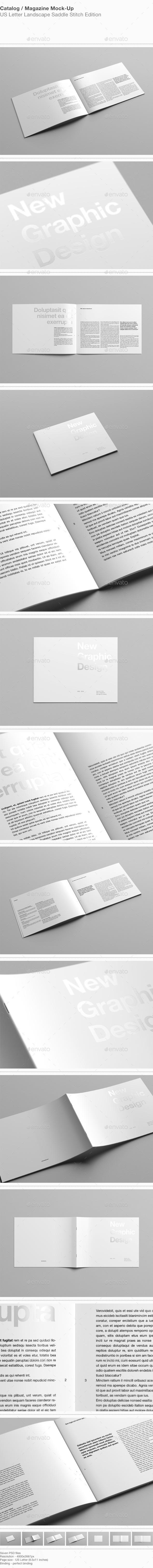 GraphicRiver US Letter Landscape Catalog Magazine Mock-Up 10314586