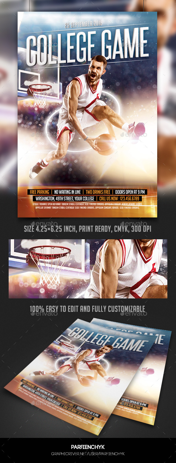 GraphicRiver College Basketball Game Flyer Template 10314630