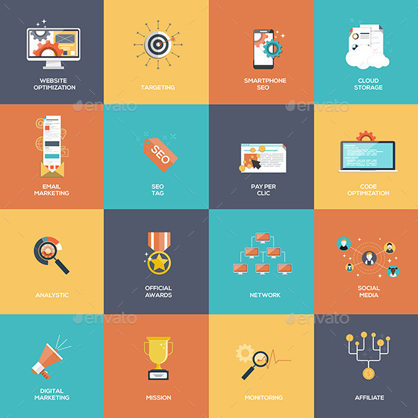 GraphicRiver Set of SEO and Marketing Icons 10315230