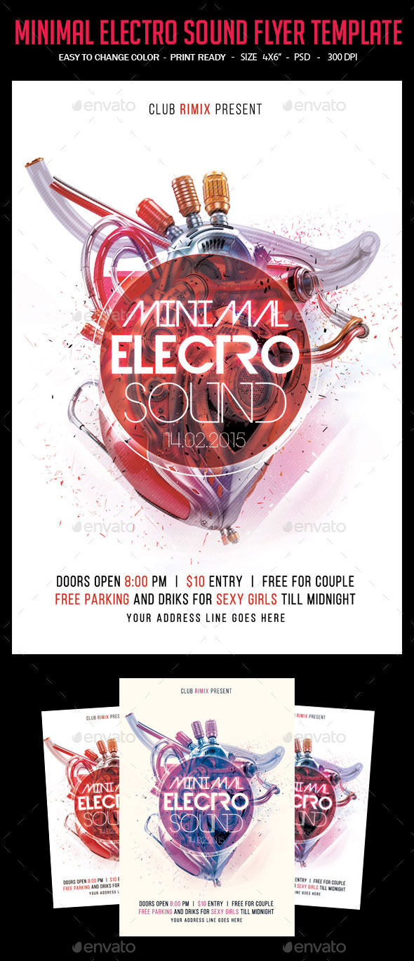 GraphicRiver Minimal Electro Sound Flyer 10276042
