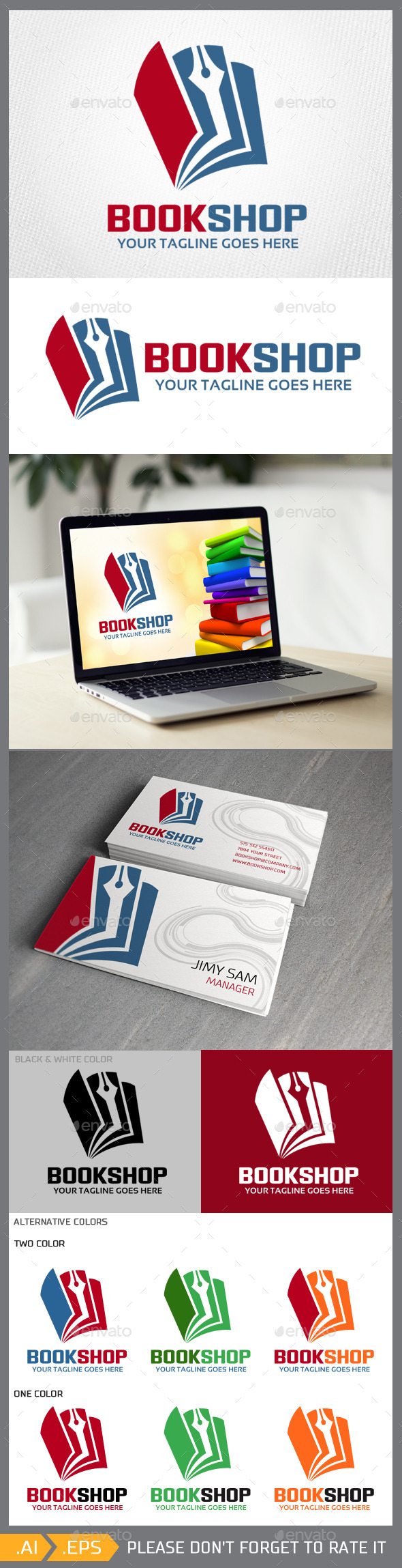 GraphicRiver Bookshop logo template 10315998