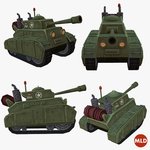 3DOcean Low Poly Cartoon Tank 10316137