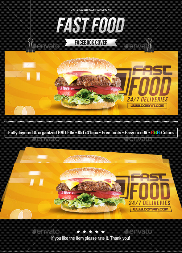 GraphicRiver Fast Food Facebook Cover 10283850
