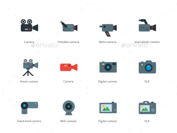 GraphicRiver Camera Color Icons on White Background 10316178