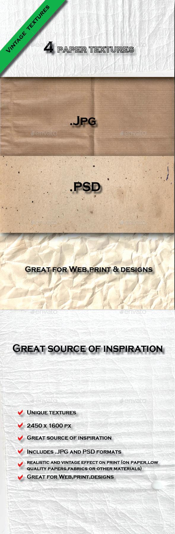 GraphicRiver 4 Vintage Paper Textures Pack 6585750