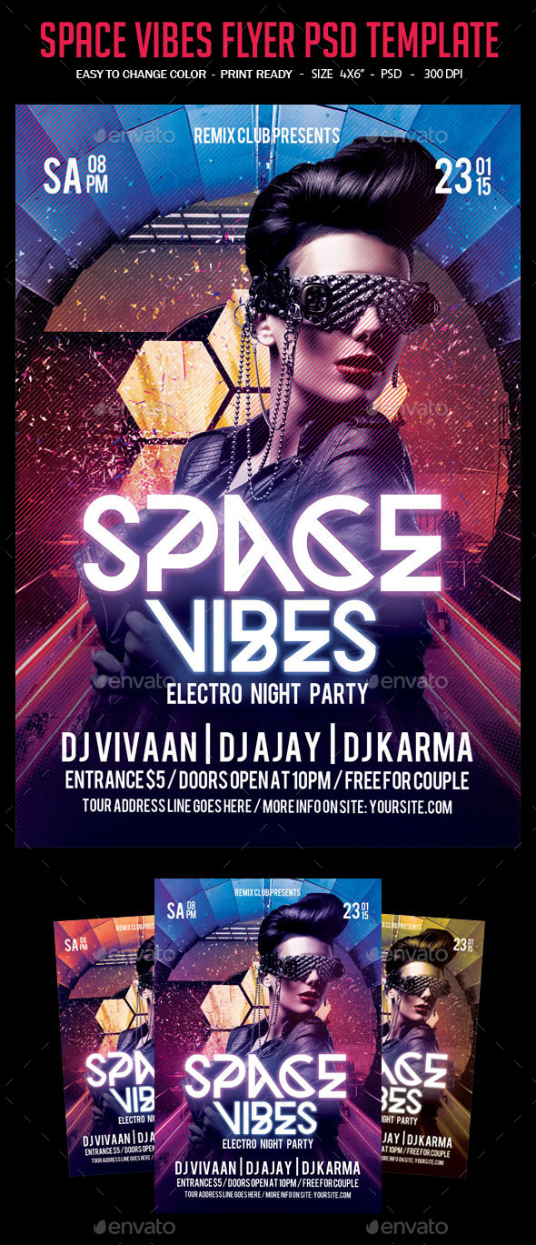 Space Vibes Flyer PSD Template