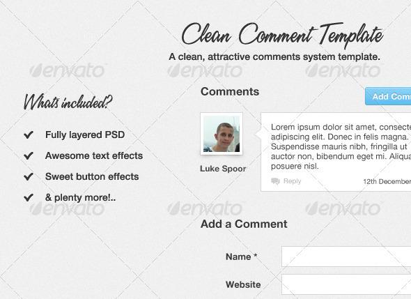 Clean Comment Template - Forms Web Elements