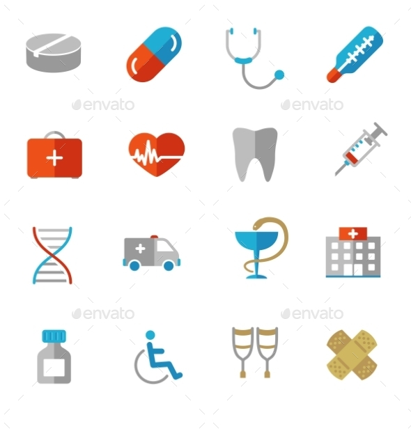 GraphicRiver Set of Colorful Medical Icons in Flat Colors 10317604