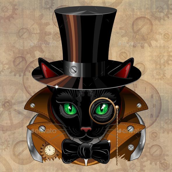 GraphicRiver Steampunk Black Cat Portrait 10318034