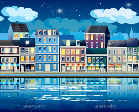 GraphicRiver Old Town at Night 10318578