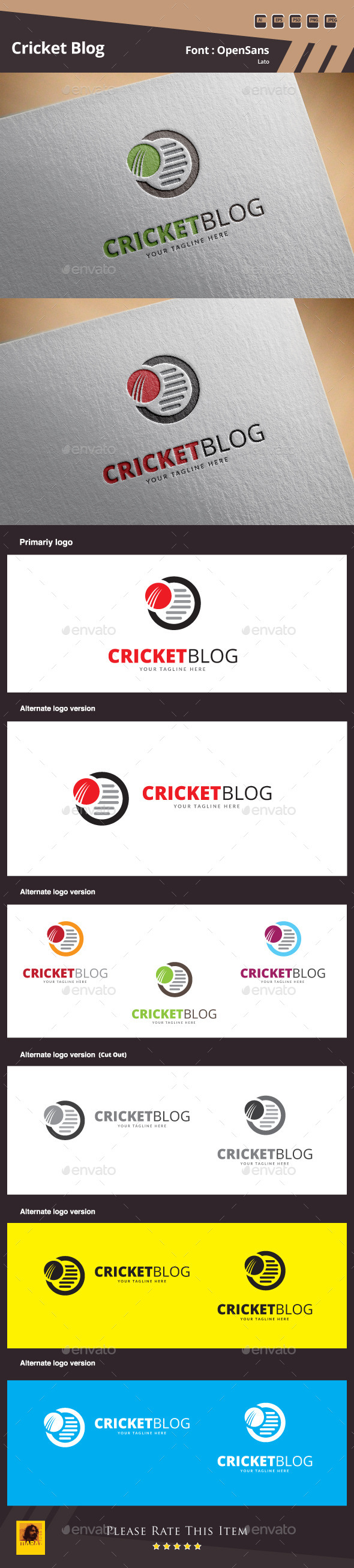 GraphicRiver Cricket Blog Logo Template 10318709