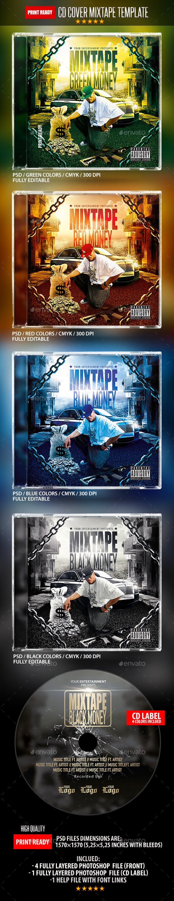 GraphicRiver Green Money Mixtape Hip Hop Cd Template 10318735