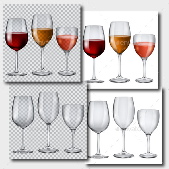 GraphicRiver Transparent Glasses with Wine and Without 10318977