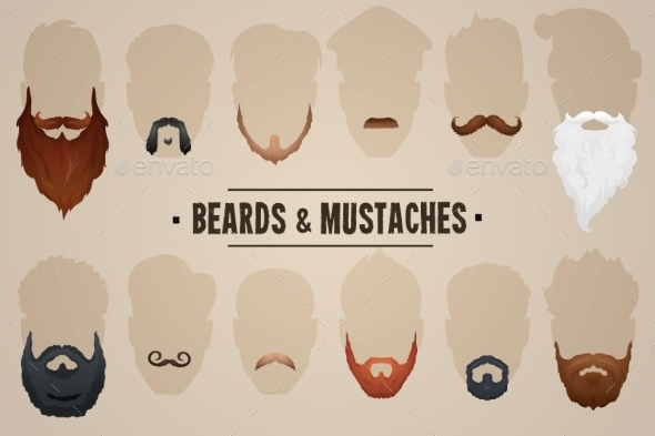 GraphicRiver Beards and Mustaches 10319235