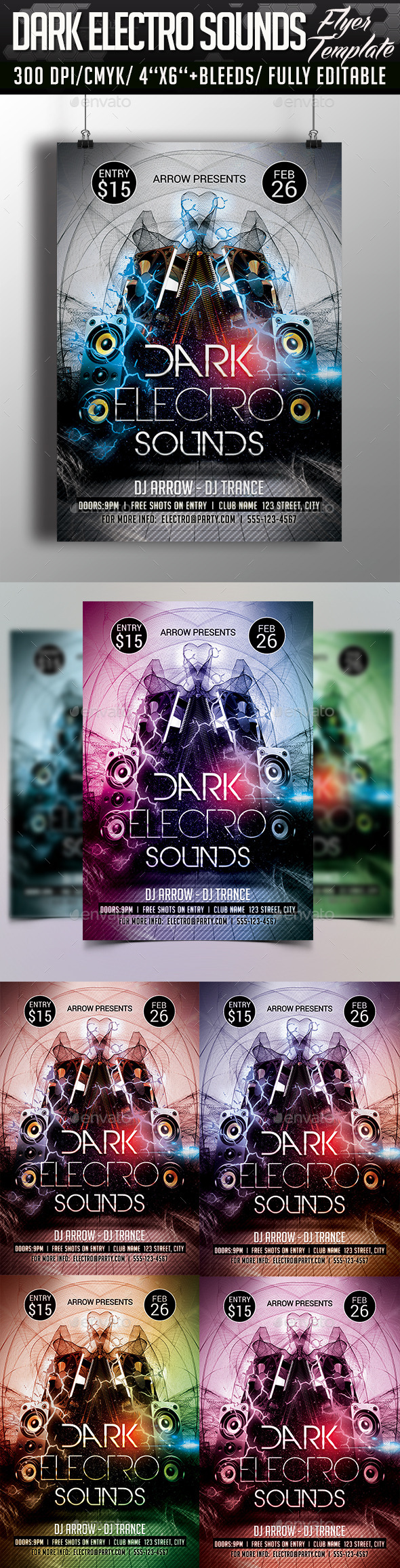GraphicRiver Dark Electro Sounds Flyer Template 10320194