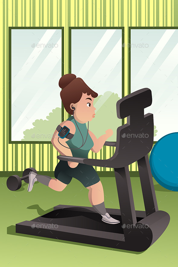 GraphicRiver Overweight Person Running on a Treadmill 10320201