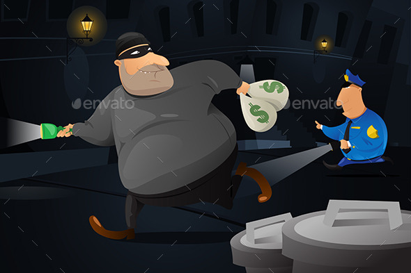 GraphicRiver Policeman Catching a Robber in a Dark Alley 10320207