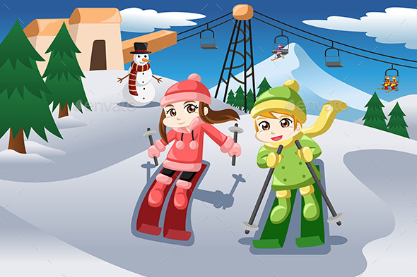 GraphicRiver Kids Skiing 10320247