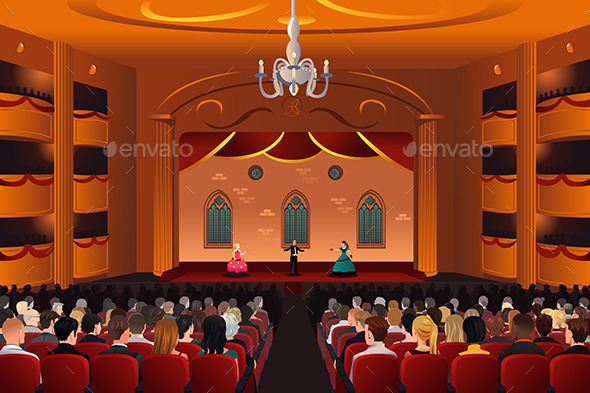 GraphicRiver Spectators Inside a Theater 10320616