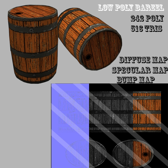 3DOcean Low Poly Barrel 10320622
