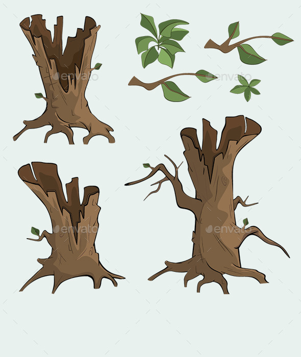 GraphicRiver Set of Dry Trees Cartoon 10320630