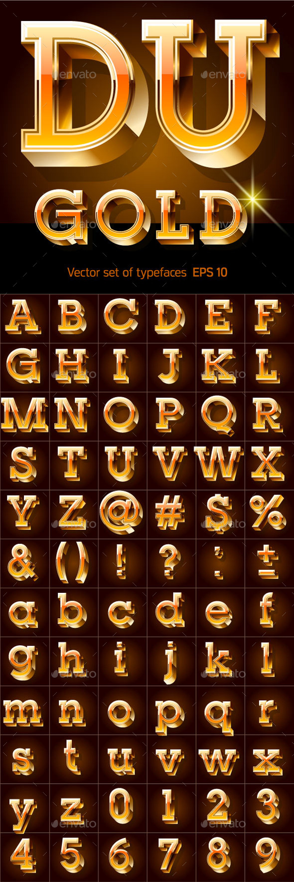 GraphicRiver Illustration of Golden 3D Alphabet 10320631