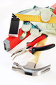 Many small working tools over white background - PhotoDune Item for Sale