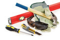 Some protective things and working tools over white background - PhotoDune Item for Sale