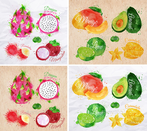 GraphicRiver Exotic Fruits Watercolor 10321012