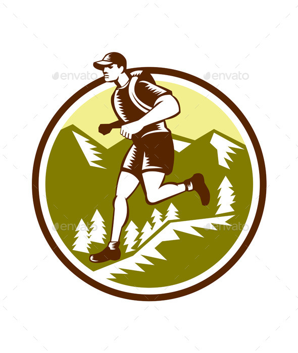 GraphicRiver Cross Country Runner Mountains Circle Woodcut 10323156