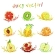 Set of Drawing Fruits with a Slice - GraphicRiver Item for Sale