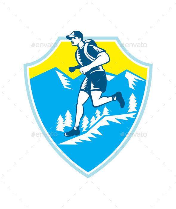 GraphicRiver Cross Country Runner Mountains Shield Woodcut 10323173