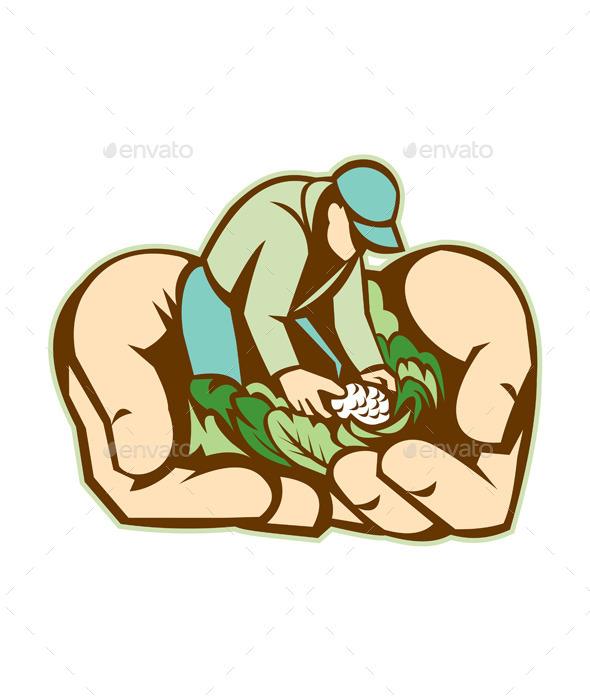 GraphicRiver Hands Holding Organic Farmer Produce Retro 10323264