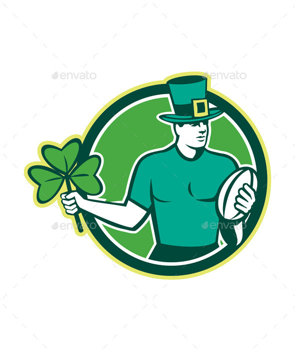 GraphicRiver Irish Rugby Player Holding Shamrock 10323351